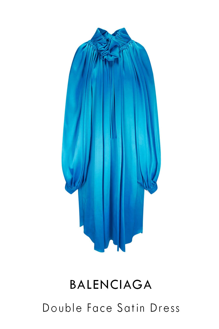 Balenciaga light cyclades blue satin dres in oversized fit with ruching around the shoulders