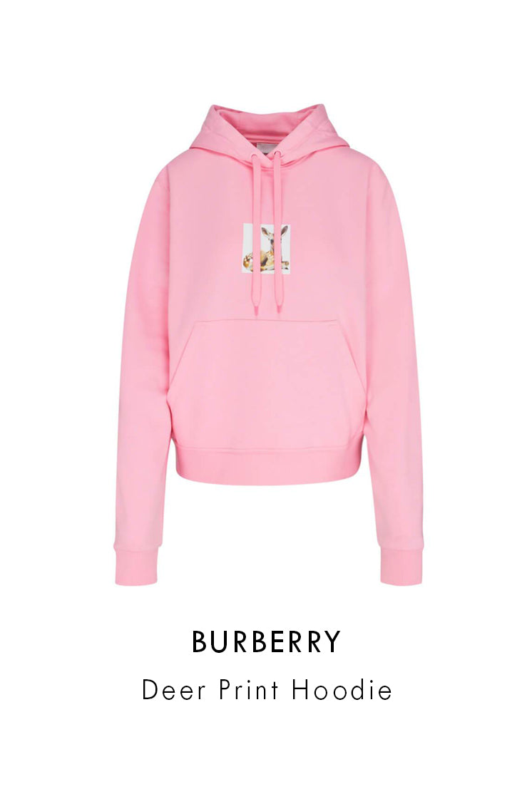 Burberry candy pink cotton deer print hoodie