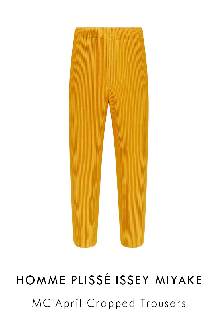 HOMME PLISSÉ ISSEY MIYAKE pleated cropped trousers in ochre with a straight leg fit