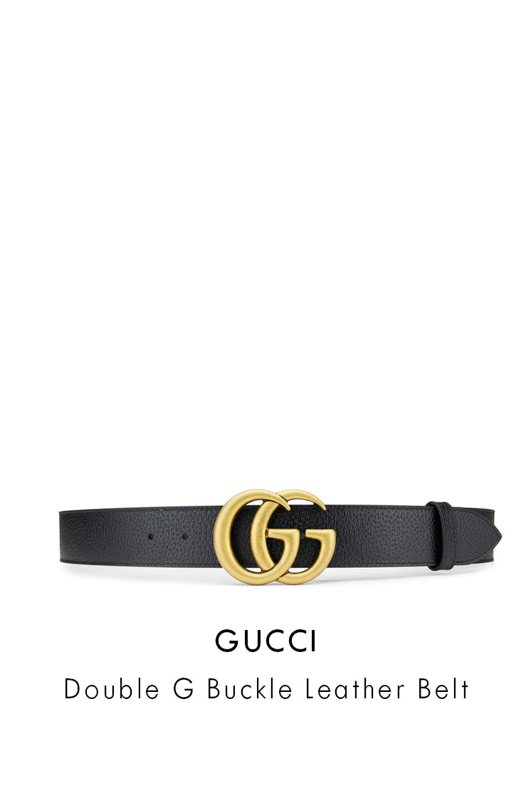 Gucci black leather belt with gold double g belt buckle