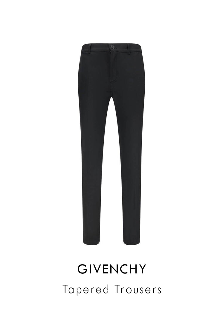 givenchy black cotton stretch tapered trousers