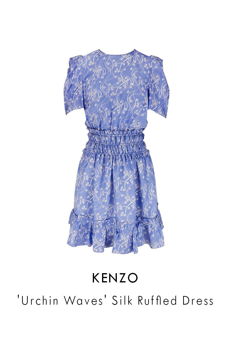 Kenzo Blue Wisteria Viscose Silk Urchin Waves Silk Ruffled Dress