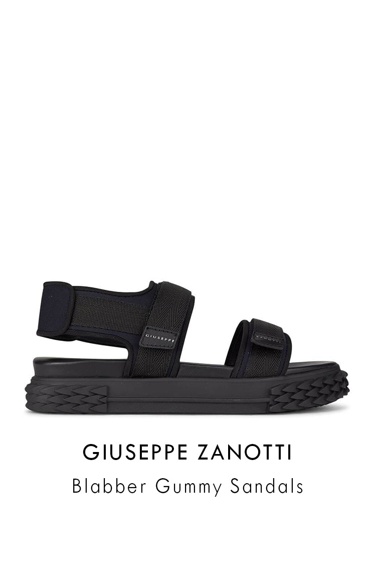 Giuseppe Zanotti black technical canvas sandals blabber gummy