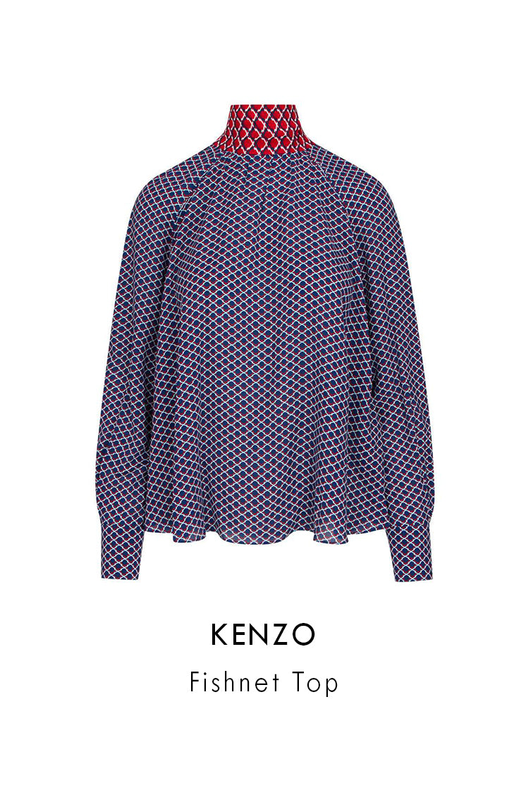 Kenzo Duck Blue Viscose Fishnet Top