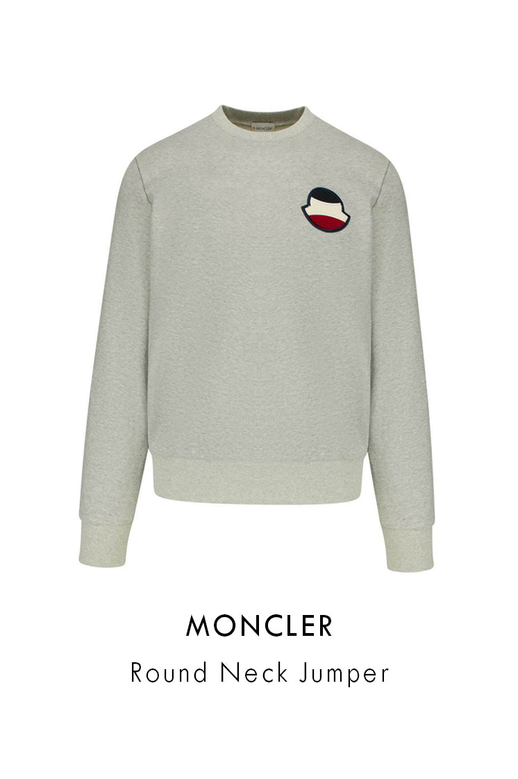 Moncler dark grey round neck cotton jumper