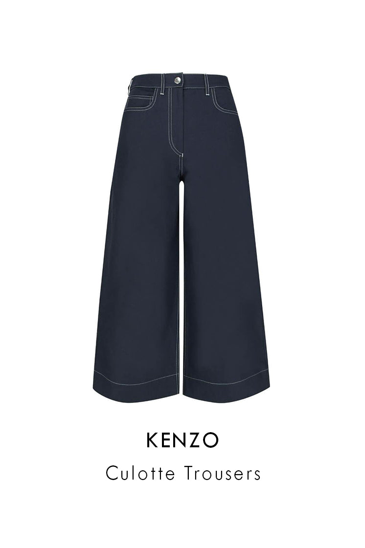 Kenzo Midnight Blue Cotton/Linen Blend Trousers