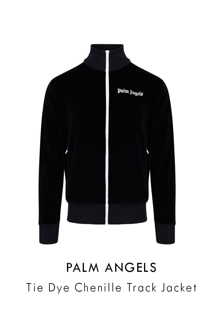 Palm Angels black multicolour tie dye chenille track jacket