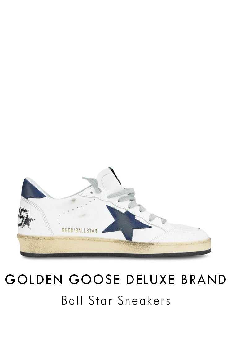 Golden Goose white leather blue star ball star sneakers