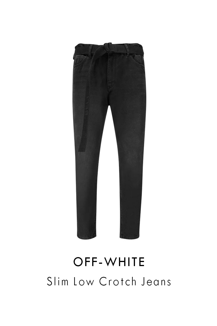 Off-White Mens Black Slim Low Crotch Jeans