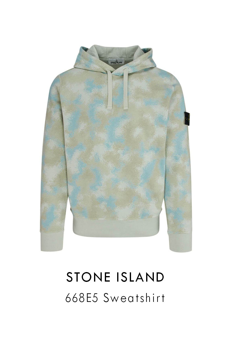 Stone Island mens cotton hoodie dove grey pattern