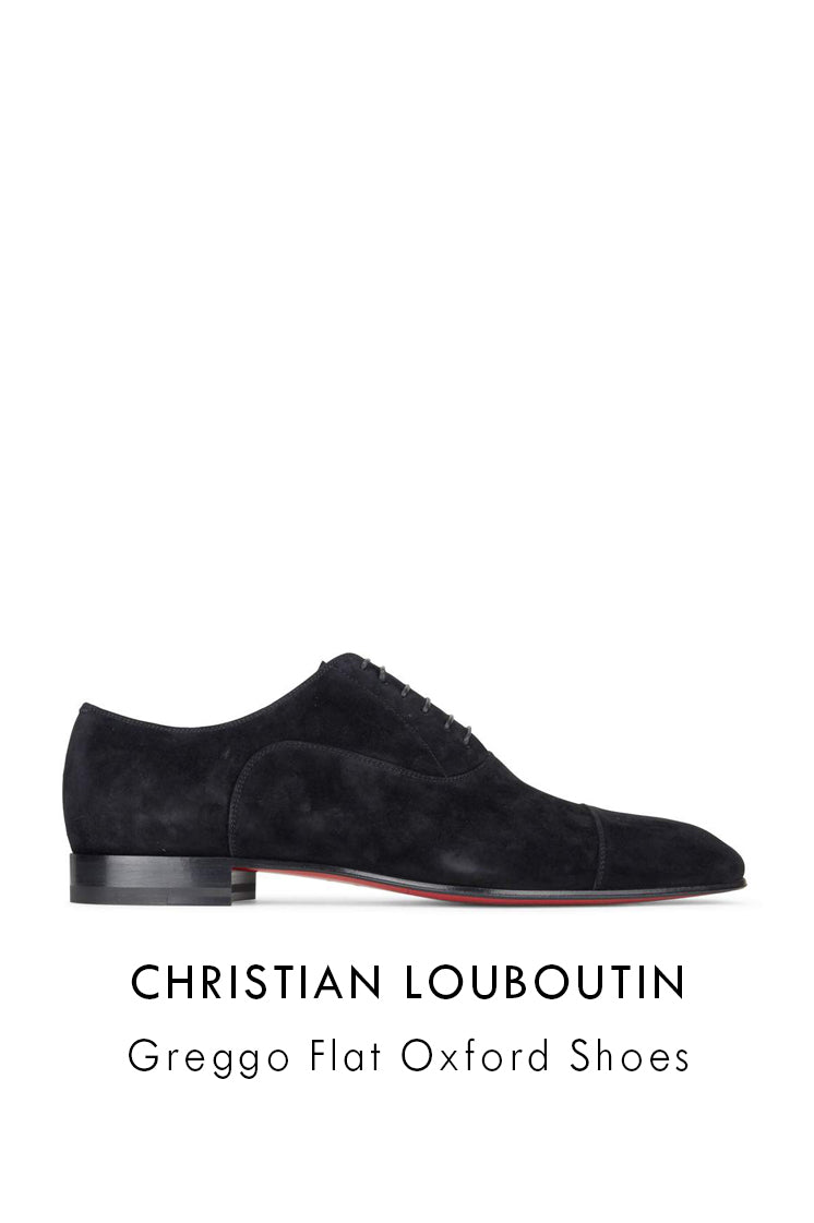 Christian Louboutin black suede leather oxford shoes