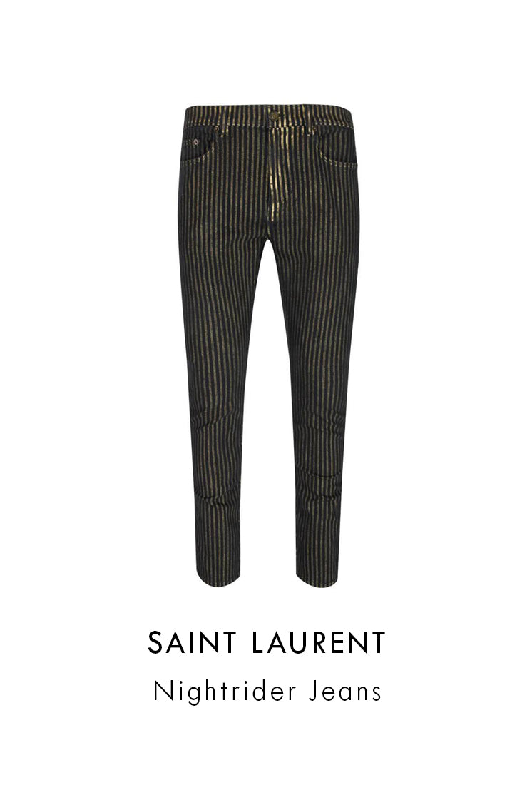 Saint Laurent gold striped skinny jeans black mid rise cropped