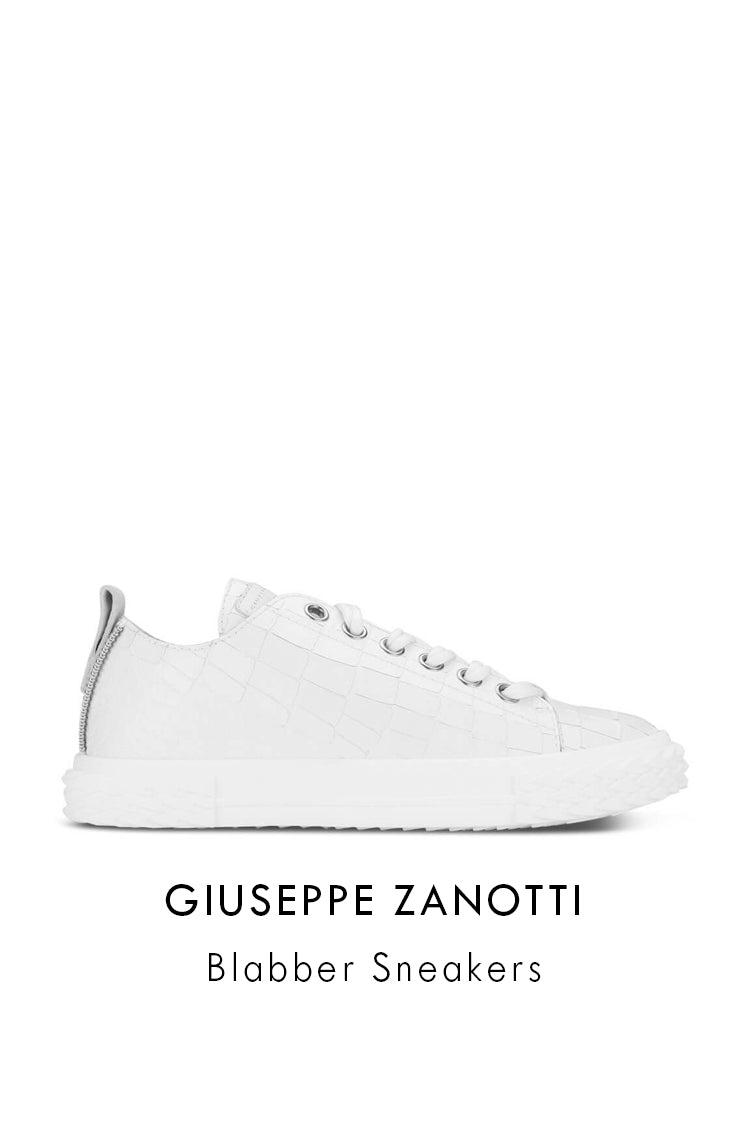 Giuseppe Zanotti white alligator printed leather sneakers with grey suede tab
