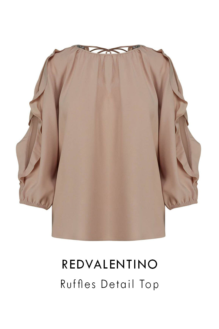 REDValentino rose crepe satin top with three quarter length sleeves