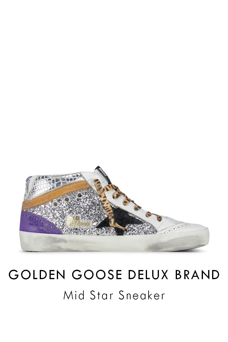 Golden goose deluxe brand mid star sneakers, silver glitter upper, silver croc textured insert, purple suede, black suede star and cream leather trimmings.