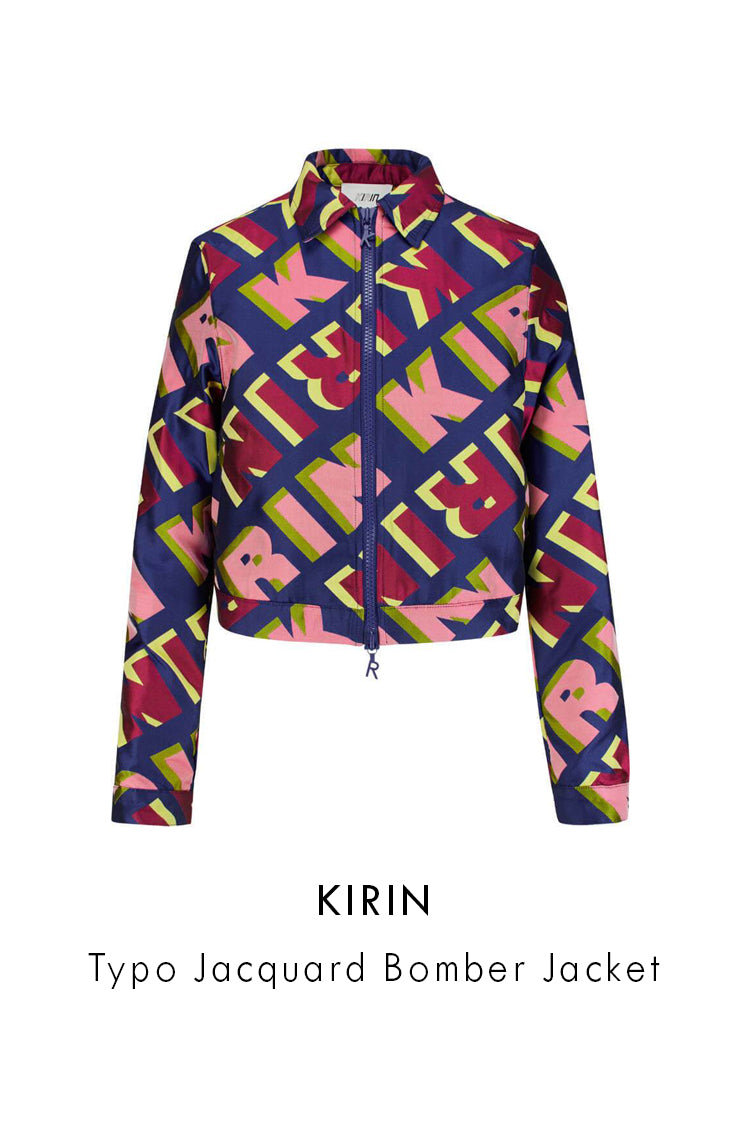 KIRIN typo jacquard bomber jacket bright blue diagonal lettering print, crepe fabric, boxy shape, cropped length, long sleeves