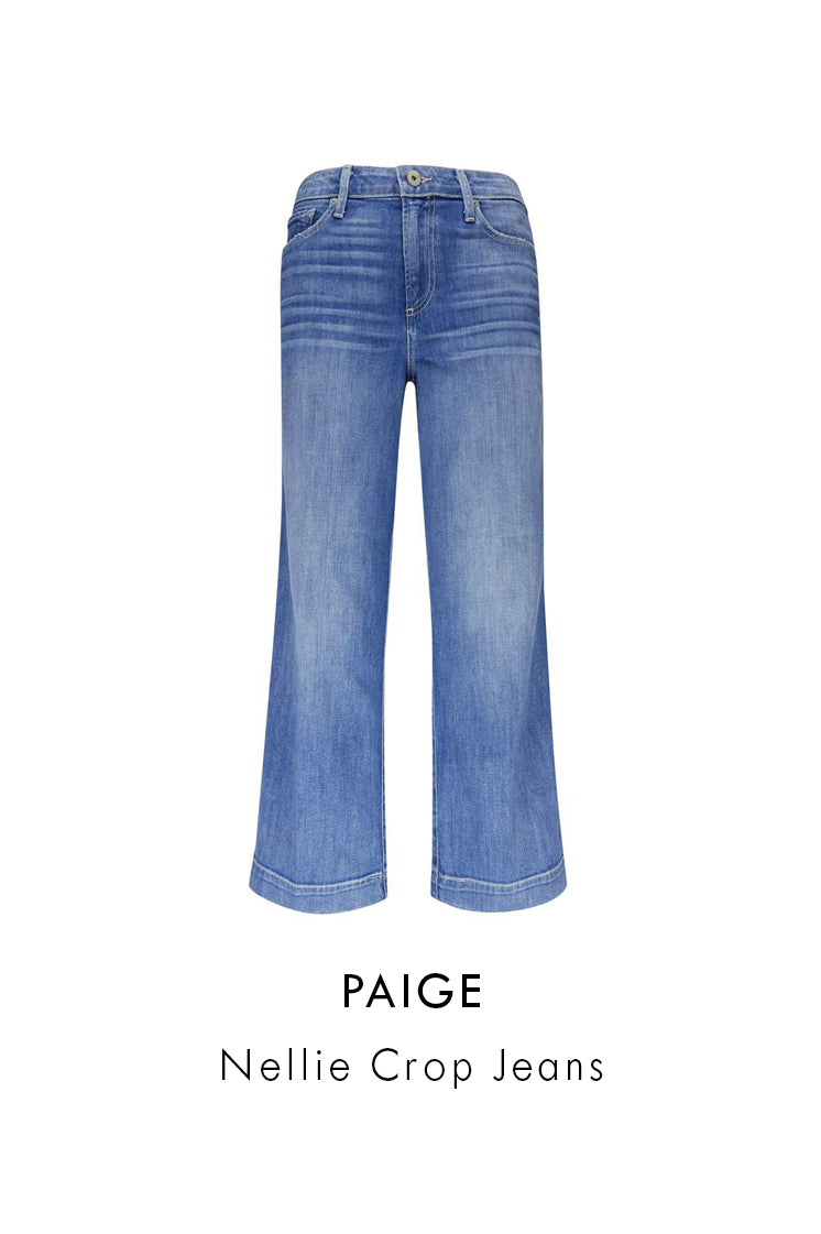 PAIGE nellie crop jeans light blue cotton blend high waisted wide leg cropped
