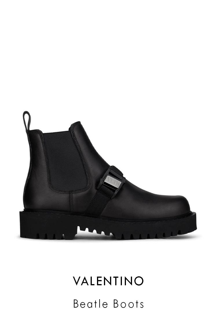 Valentino black smooth leather beatle boots