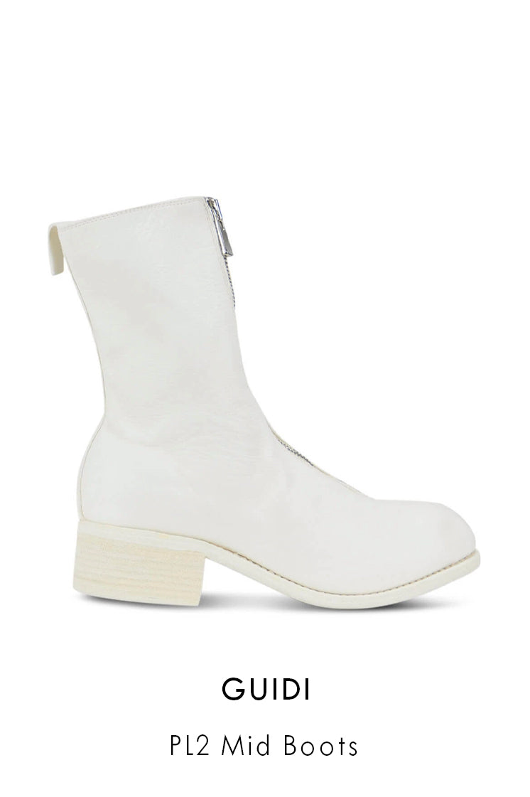 Guidi smooth white horse and calf leather boots