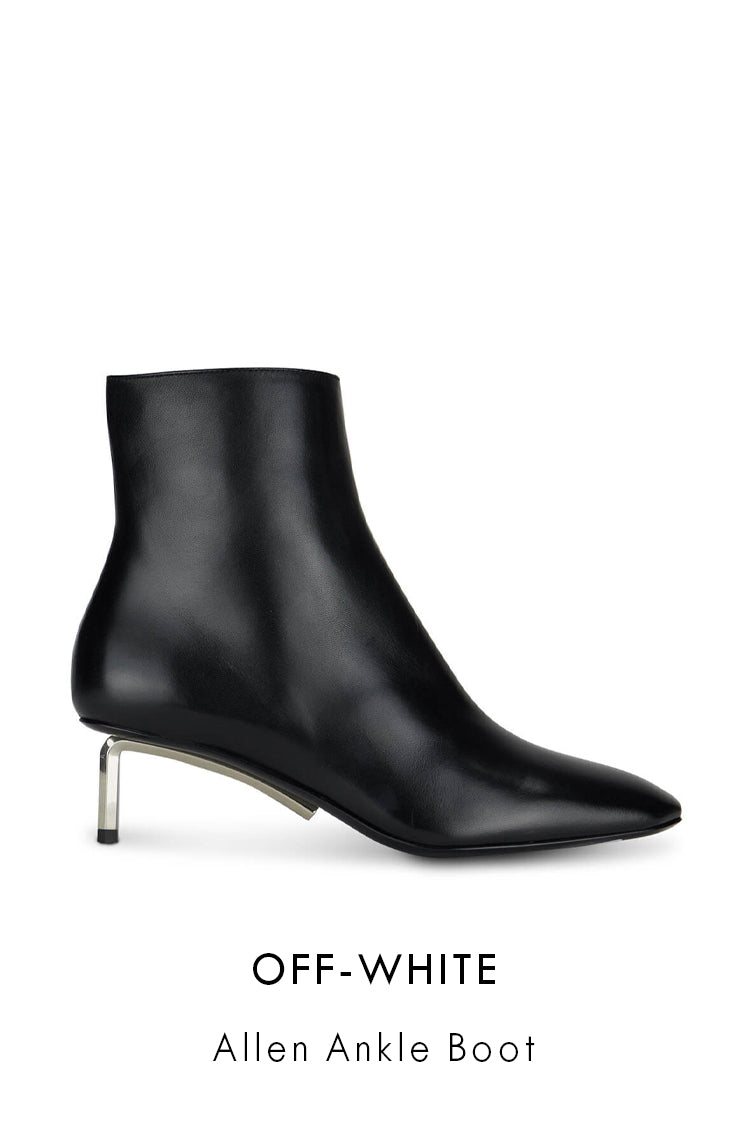 Off White black smooth leather ankle boots