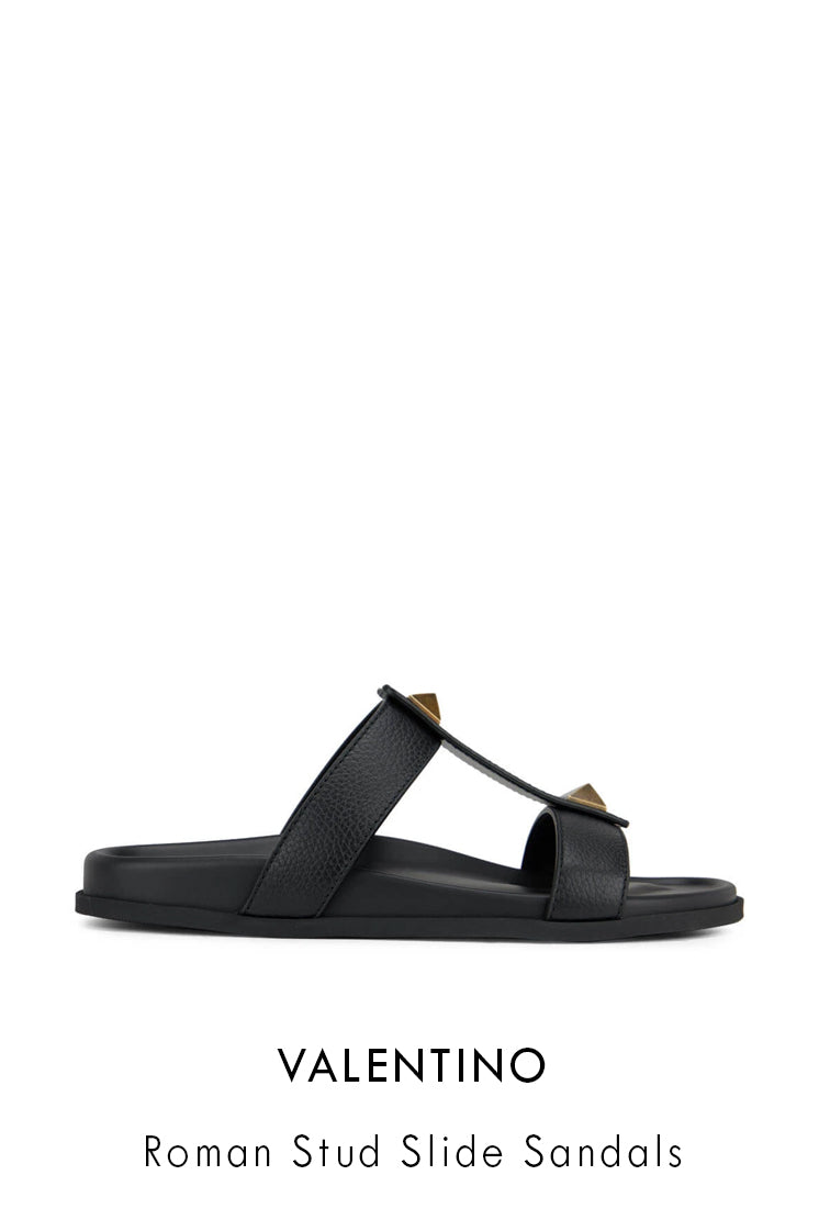 Valentino black grained leather sandals