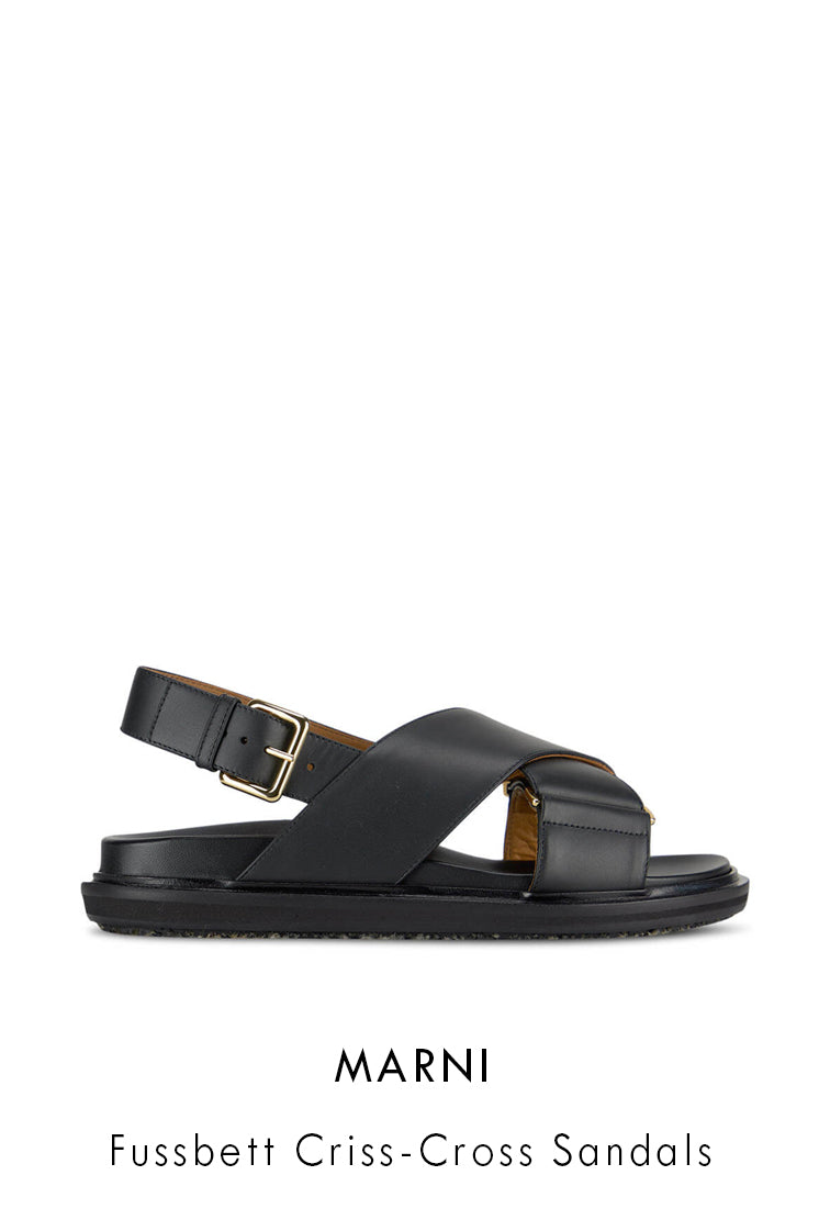 Marni black smooth leather sandals
