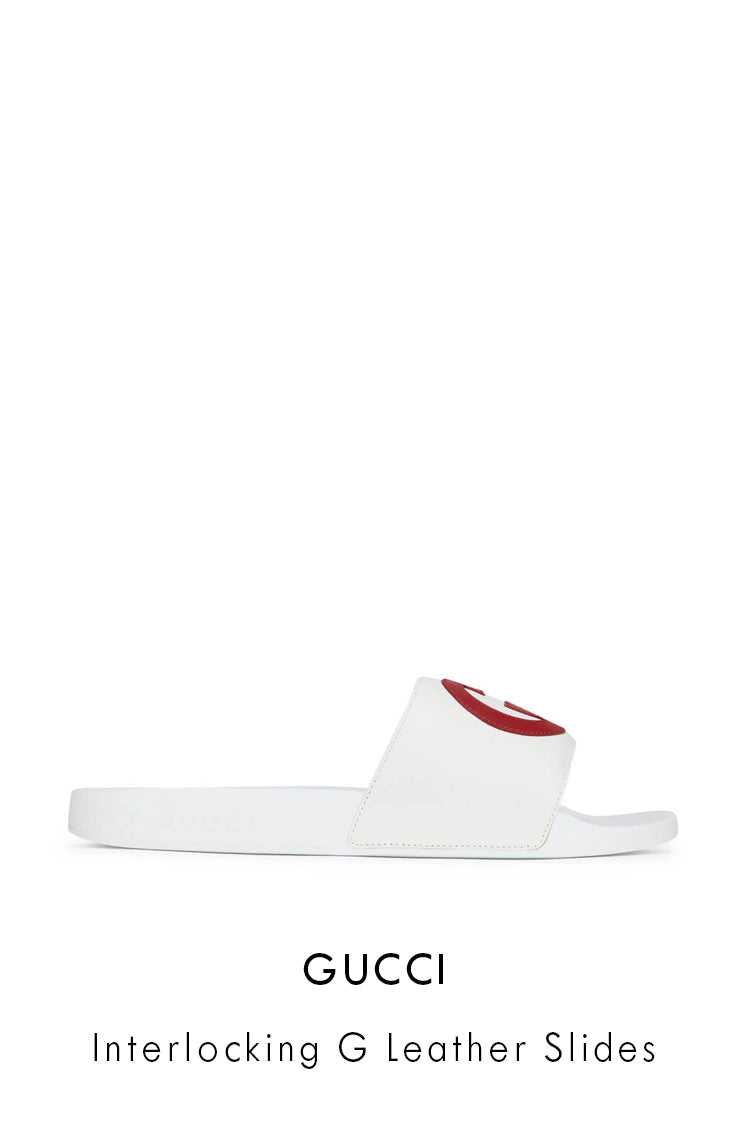 Gucci leather and rubber white slide sandals