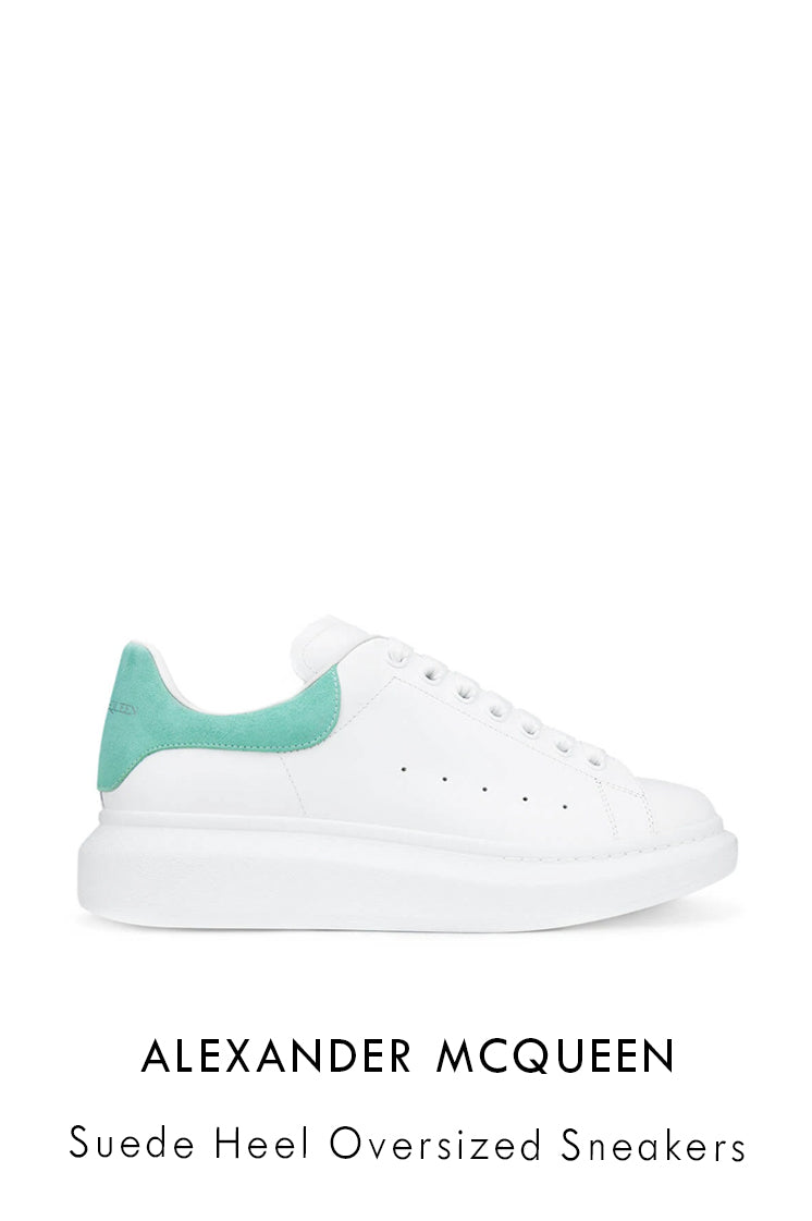 Alexander McQueen smooth white leather sneakers with teal suede detail