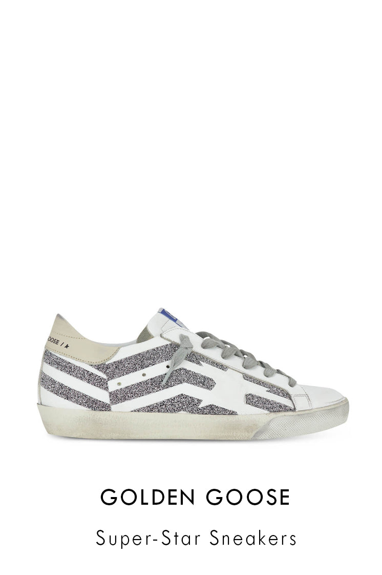 Golden Goose white leather low-top sneakers with silver glitter flag with a vintage distressed finish