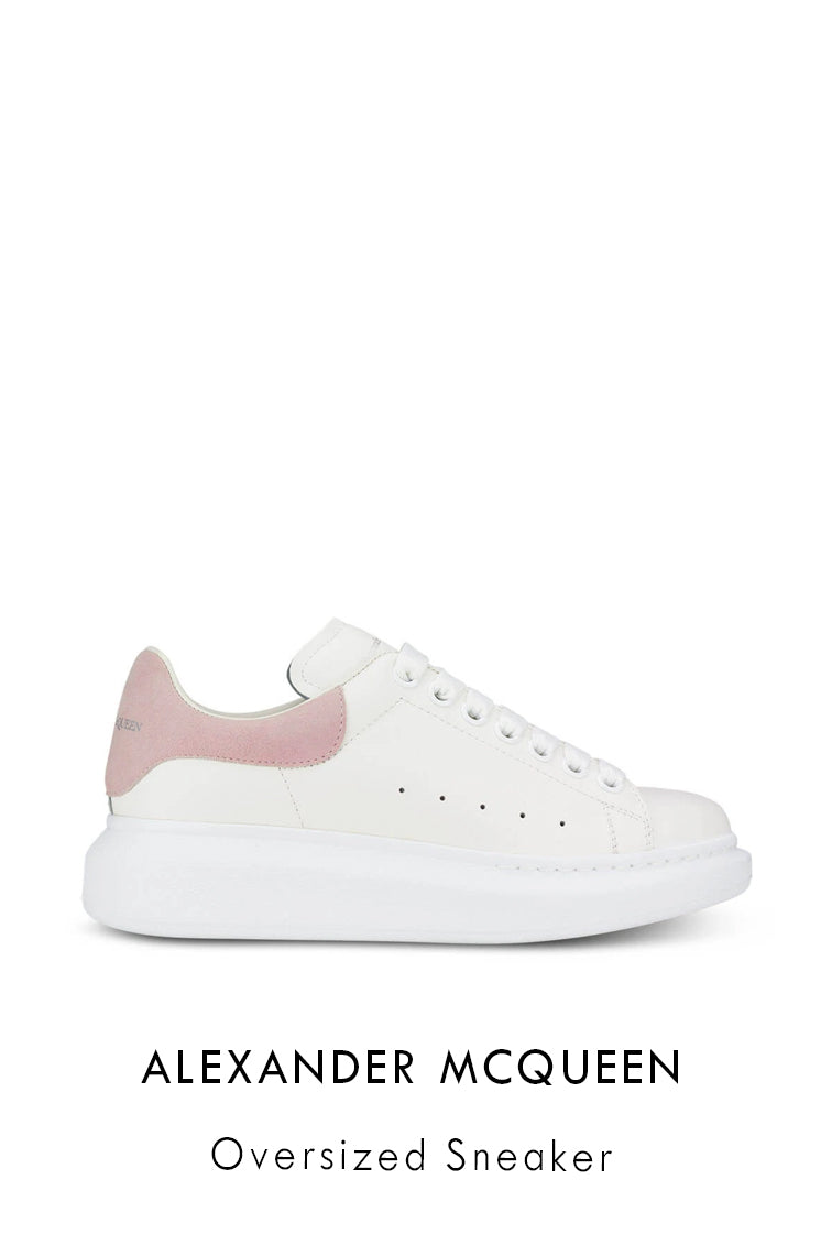 Alexander McQueen white smooth leather sneakers with signature on the tongue and heel with a light pink suede heel counter