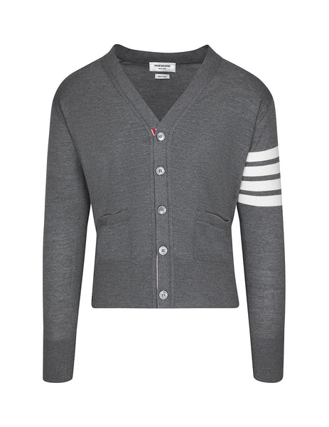 Thom Browne Men's Giulio Fashion Medium Grey 4 Bar Stripe Cardigan MKC002A00014038