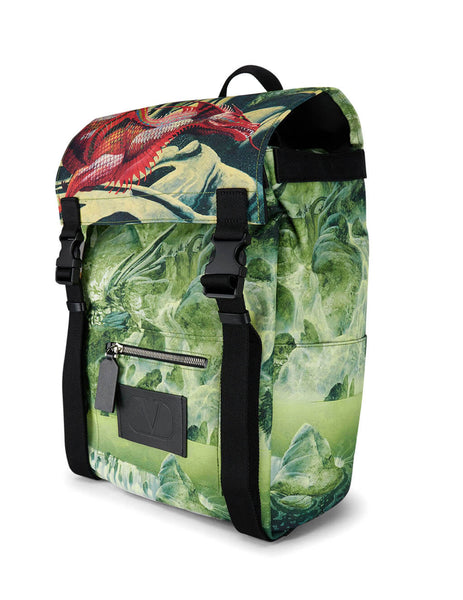 Men's Green Valentino Dragons Garden Backpack TY0B0922FBX0AC