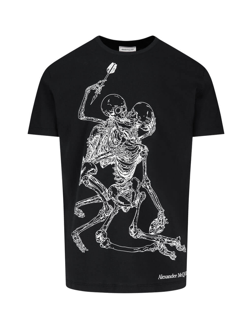 Men's Black Alexander McQueen Lover Skeletons Print T-Shirt 624170QPZ600901