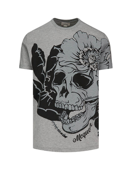 Men's Pale Grey Alexander McQueen Skull in Bloom Print T-Shirt 626674QPZ590902