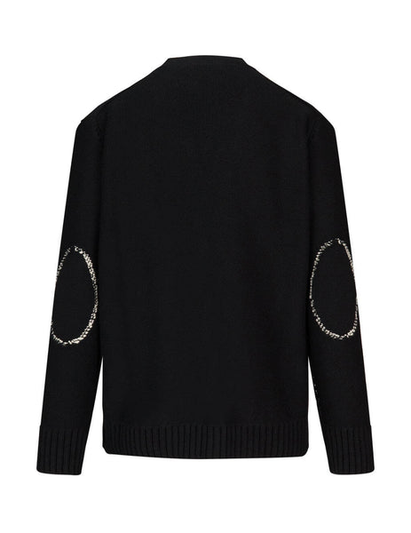 Men's Black and Ivory Alexander McQueen Skull Intarsia Lambswool Cardigan 626446Q1APA1001