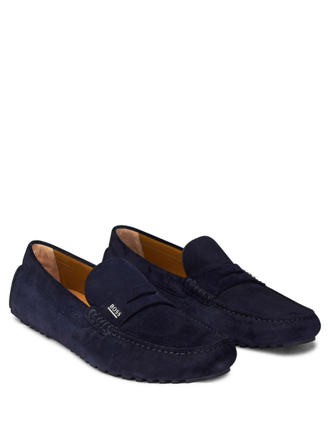 BOSS Men's Giulio Fashion Blue Suede Driver Moccasin Loafers 50403068401
