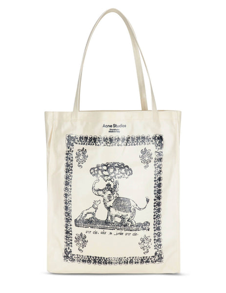 Women's Acne Studios Audrey Oilcloth Tote Bag in Coconut White - C10061-BCH