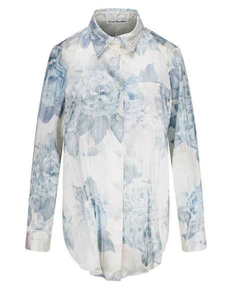 Women's Acne Studios Relaxed Fit Floral Print Shirt in Blue - AC0353-AAN