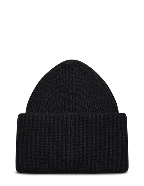 Acne Studios Pansy N Face Logo Beanie Hat in Black - C40135-900