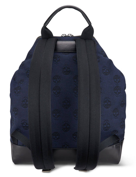 Men's Alexander McQueen Biker Skull De Manta Backpack in Midnight Blue/Black - 5486631AAAM4265
