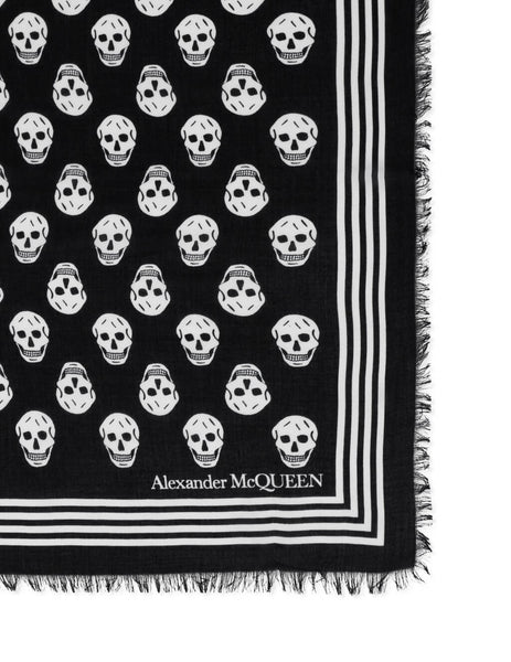 Men's Black and Ivory Alexander McQueen Biker Skull Scarf 5909344418Q1078