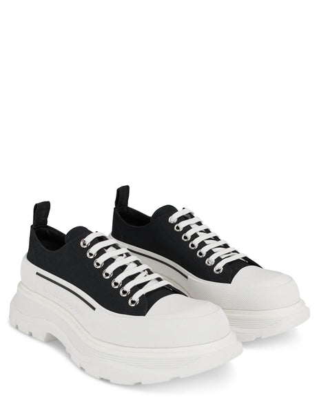 Men's Alexander McQueen Chunky Low-Top Sneakers in Black/White - 604257W4L321070