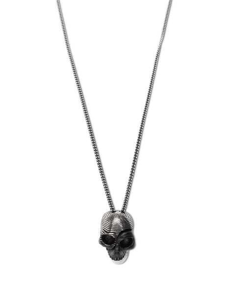 Men's Silver, Black and White Alexander McQueen Divided Skull Pendant Necklace 628105J160K1078