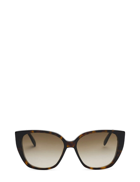 Women's Alexander McQueen Seal Cat Eye Sunglasses in Havana Brown - AM0284S003