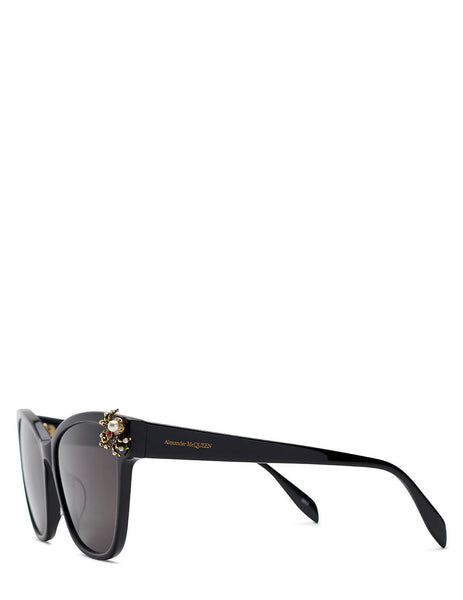 Women's Alexander McQueen Spider Cat Eye Sunglasses in Black - AM0269S001