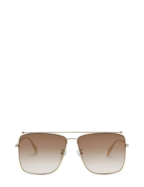 Alexander McQueen Square Aviator Sunglasses in Gold/Brown - AM0318S002