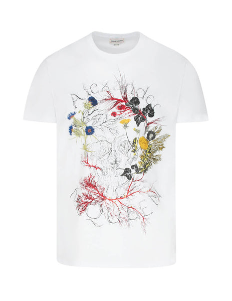 Alexander McQueen Men's White Organic Cotton Glowing Botanical Skull T-Shirt 595649qoz590900