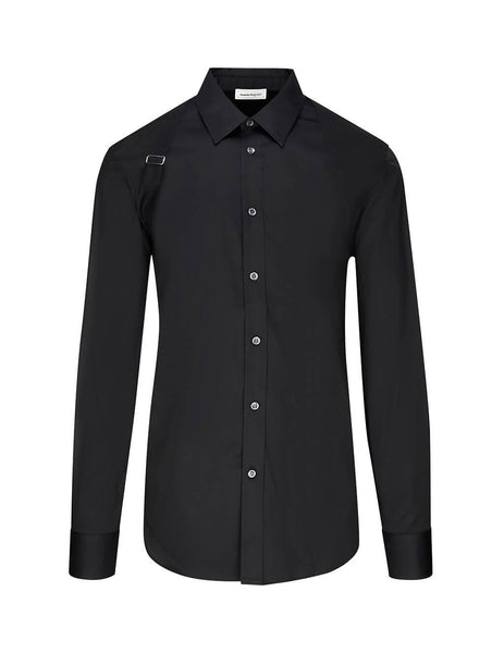 Alexander McQueen Men's Black Cotton Poplin Harness Shirt 599182QON191000