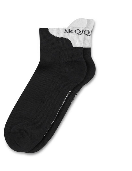 Men's Black and Ivory Alexander McQueen Signature Socks 5765394A66Q1078