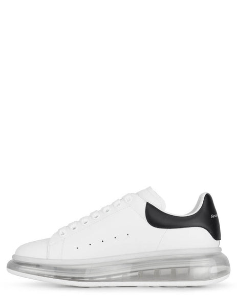 Alexander McQueen Men's White Oversized Transparent Sneakers with Black Heel 604232WHX989061